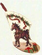Clearance.Horse Holiday Xmas Horse Mini Needlepoint Christmas Stocking