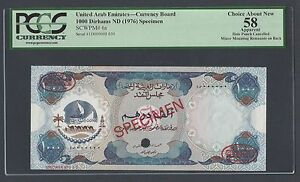 United Arab Emirates 1000 Dirhams (1976) P6s Specimen TDLR About Uncirculated