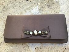 Ladies Milk Chocolate Satin Clutch Bag With Chain Handle