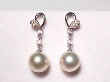 South Sea white pearl dangle earrings, diamonds, solid 14k white gold.