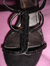 Black Fabric Hi-Heel Beaded T-Strap by Style & Co 10M
