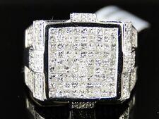 Square Pinky Fashion Ring 1.79 Ct 14K Mens White Gold Princess Cut Diamond