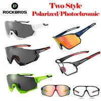 ROCKBROS Bike Polarized Goggles Photochromic Glasses Cycling 5 Lenses Sunglasses