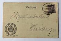 Württemberg Dienstbrief Postkarte Centralstelle Gewerbe u. Handel Stuttgart 1919