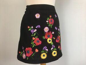 Topshop Black Multi Floral Embroidered Folk Boho - Pockets Mini Skirt - Size 10