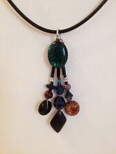 Stone Beaded Vintage Pendant Blue Shell Glass Wood Adjustable Black Necklace