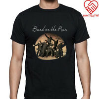 New Wings Paul Mccartney Band On The Run Men's Black T-Shirt Size S to 3XL