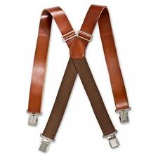 Brimarc Dark Brown HEAVY DUTY LEATHER BRACES 35mm Wide Quality Suspenders