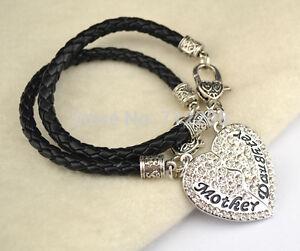 x2 Mother and Daughter Bracelet Crystal leather Heart mum Bracelets 746