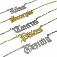 Old English Horoscope Steel Necklace l Gold / Silver Stainless Zodiac Star Sign