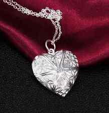 valentine Gift Silver Heart lover locket chain necklace pendant women fashion