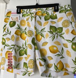 ISAAC MIZRAHI New York Women's Shorts Lemon Lime Print New w/tags Sz 14 Tag $50