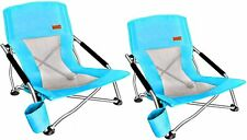 Beach Chair Folding With Cup Holder Portable Camping Ultralight Compact - 2 Pack