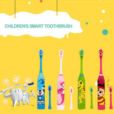 Kids Dental Oral Care Electric Toothbrush Ultrasonic Waterproof 2 Brush Heads