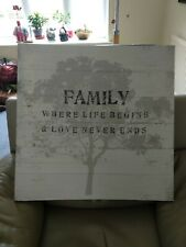 Family Wall Picture Where Life Begins Quote Grey Wall Canvas Box Print