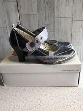 """S Oliver Blue Grey Mary Jane Shoes, 3"""" Heel Uk6"""