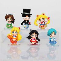 6Pcs Sailor Moon Chibi Moon Mars Jupiter Pluto figure collection Mini Figures