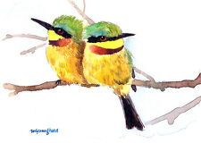 ACEO Limited Edition- Together, Rainbow bee eaters, Gift for bird lovers