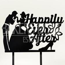 Felici e contenti Prince & Princess Acrilico Matrimonio Cake Topper Silhouette