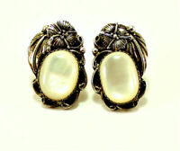 Vintage Native American Sterling 925 White Oval  Mother of Pearl Stud Earrings