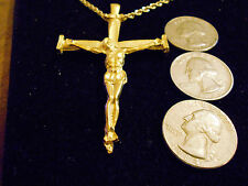 bling gold plated jesus church cross crucifix pendant charm necklace jewelry gp