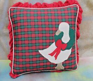"Tartan Plaid Christmas Goose Appliqué Decorative Pillow, 10"" Square FREE SHIP!"