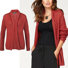 genial Strickjacke Jacke Cardigan Strickmantel ROT Orange-Rot AMBER Gr.36/38