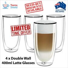 4 x Caffe Latte Glasses Glass Double Wall Dual Coffee Thermo Shield Cup Mug Cafe