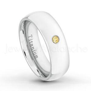 November Birthstone Ring 0.05ct Citrine Polished Finish Dome White Titanium Ring