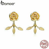 BAMOER Women authentic 925 Sterling silver Gold The rose Stud Earrings  Jewelry