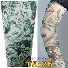 Stretchy Temporary Fake Tattoo Sleeve Printed Costume Punk Fancy Dress TS-26
