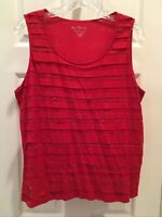 Chico's Women's Stretch Beautiful Red /sequin Tank Top SIze 2 Chicos tank top