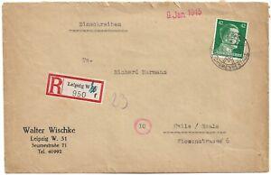 DR 1945  R -  Brief -  42 Pf.grün A.H., Leipzig - Halle /Saale