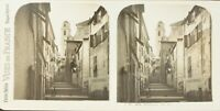 Francia Villefranche Una Rue, Foto Stereo Vintage Analogica PL62L11n2