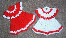 DRESS POTHOLDERS, Crochet, PAIR, New, RED AND WHITE, Handcrafted