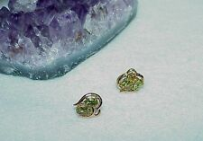 14K 2.00ct 4 Oval Peridot Solitaire Earrings Yellow Gold Stud New Apple Green