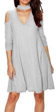 Vestiti da donna tunica grigio con scollo a v