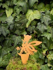 Fee Elfe !!19cm Beetstecker Blumendeko Edelrost Garten Frühling Figur Topfstab