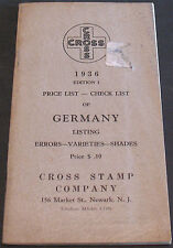Cross Stamp Company 1936 Price List Check List Germany Errors Varieties Shades