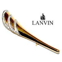 LANVIN Grande Broche couleur or corne d'abondance cristal blanc bijou brooch
