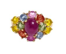 Vintage Ruby Oval cabochon & Natural Multi Sapphire 14k Yellow Gold Ring