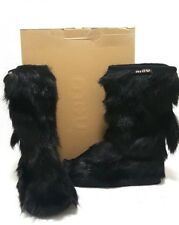 MOU Goatskin Cowboy Goat Black Hair Boots Womens Winter FUR BOOTS Size EUR 37