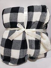BUFFALO CHECK BLACK WHITE CHRISTMAS FARMHOUSE PLUSH THROW BLANKET DECOR 50x60