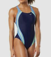 $175 Speedo Women's Blue Quantum Splice One Piece Racerback Swimsuit Size 6