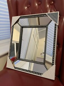 Industrial style beaded wall mirror  small hall way bath room mirror home decor
