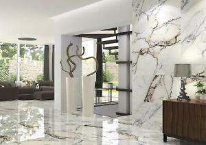 Gorgeous Oreo-look white 60x120 polished porcelain marble effect tiles 4 pieces