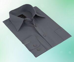 Herren Hemd Klassisch Business Langarm Grau - 38 39