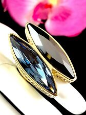 SENSATIONAL AKKAD GOLDTONE SAPPHIRE BLACK AB RHINESTONE COCKTAIL RING - SIZE 6.5