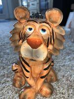 Vintage Ceramic Glazed Lion Figurine Bank By Douglas