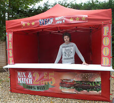 RED PRINTED Mobile Catering Trailer Printed Burger Van Hot Dog  Gazebo Coffee ^